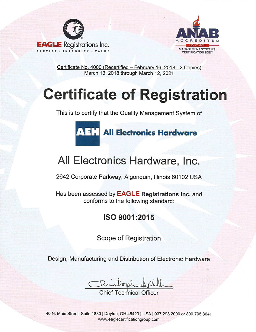 AEH ISO 9001:2015 certification